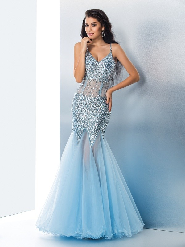 Nice Mermaid Spaghetti Straps Sequin Sleeveless Long Organza Dress