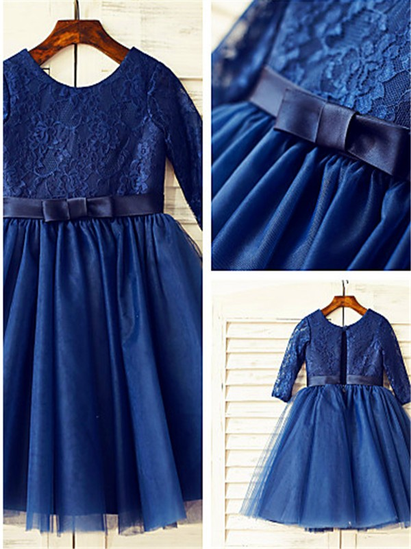 Affordable A-line Scoop Long Sleeves Lace Tea-Length Tulle Flower Girl Dress