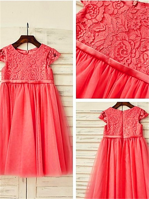 Exquisite A-line Scoop Short Sleeves Lace Tea-Length Tulle Flower Girl Dress