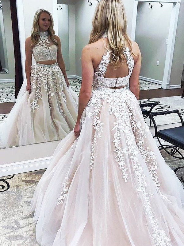 Gorgeous A-Line High Neck Sleeveless Sweep/Brush Train Tulle Two Piece Dress