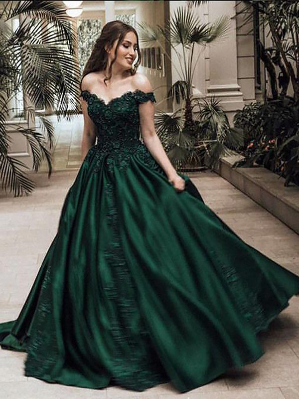 Fashion Ball Gown Off-the-Shoulder Sleeveless Floor-Length Lace Satin Dress