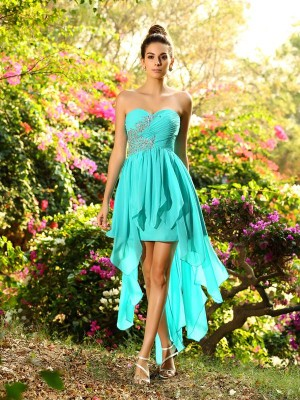Classical A-Line Sweetheart Sleeveless High Low Chiffon Bridesmaid Dress