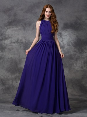 Unique A-Line Jewel Sleeveless Long Chiffon Bridesmaid Dress