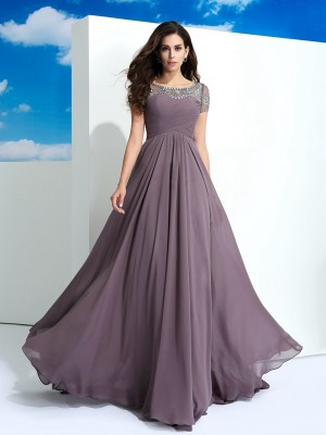 Nice A-Line Sheer Neck Short Sleeves Long Chiffon Dress