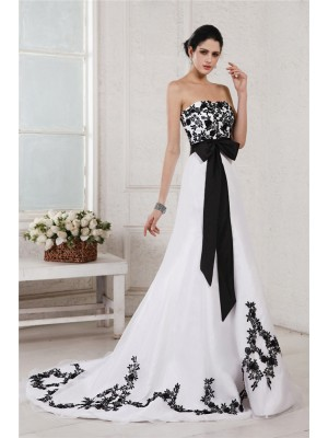 Beautiful A-Line Sweetheart Sleeveless Sash Long Net Satin Wedding Dress