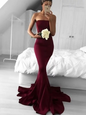 Gorgeous Mermaid Strapless Sweep/Brush Train Jersey Sleeveless Dress