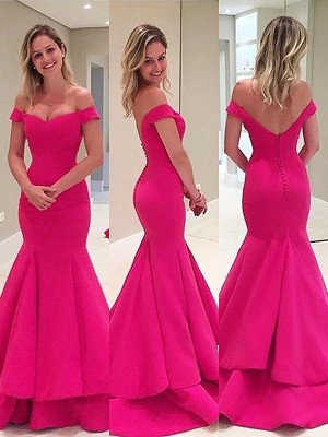 Stylish Mermaid Sleeveless Off-the-Shoulder Satin Sweep/Brush Train Dress