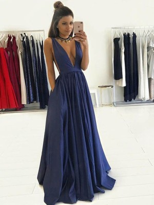 Perfect A-Line V-neck Sleeveless Floor-Length Taffeta Dress