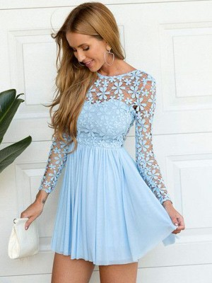 Discount A-Line Scoop Long Sleeves Lace Short/Mini Chiffon Dress
