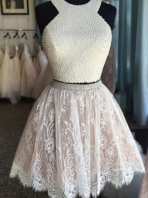 Discount A-Line Sleeveless Halter Short/Mini Lace Two Piece Dress