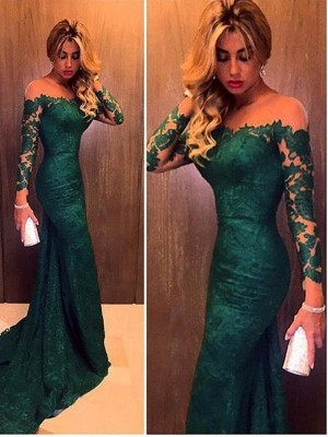 Stunning Mermaid Long Sleeves Off-the-Shoulder Lace Sweep/Brush Train Dress