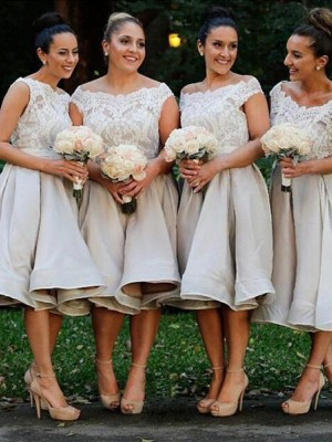 Discount A-Line Off-the-Shoulder Sleeveless Elastic Woven Satin Knee-Length Bridesmaid Dress