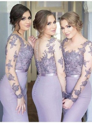 Discount Mermaid Scoop Long Sleeves Jersey Floor-Length Bridesmaid Dress