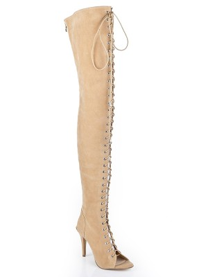 New Women Suede Stiletto Heel Peep Toe Lace-up Over The Knee Champagne Boots