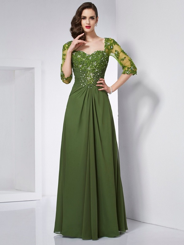 Elegant A-Line Sweetheart 3/4 Sleeves Long Chiffon Dress