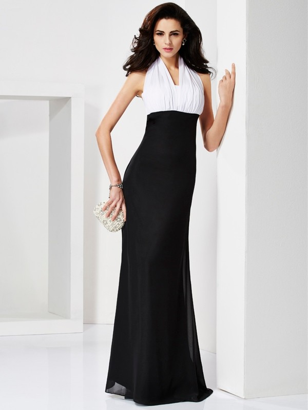 Elegant Mermaid Halter Sleeveless Long Chiffon Dress