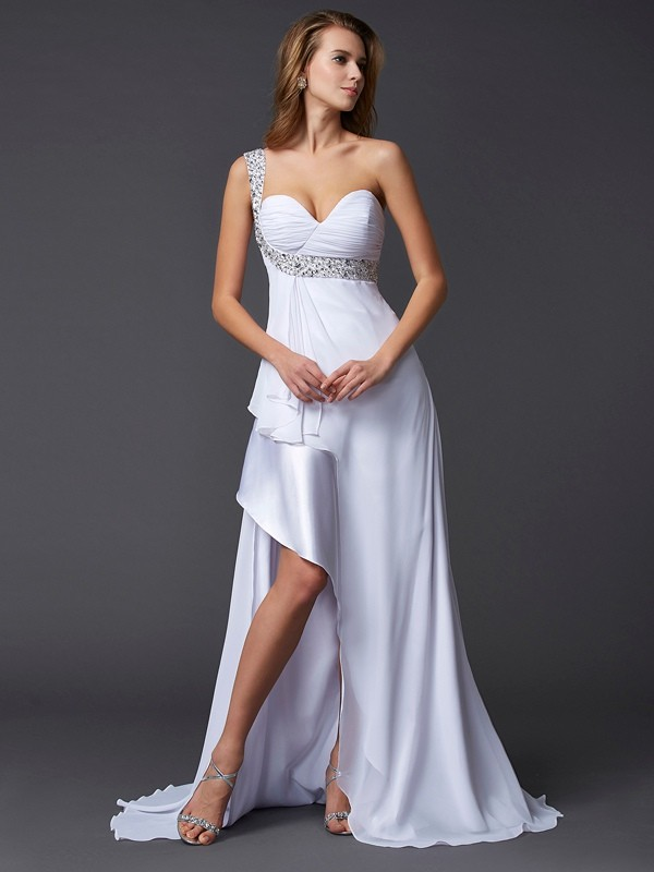 Elegant A-Line One-Shoulder Sleeveless Long Chiffon Dress