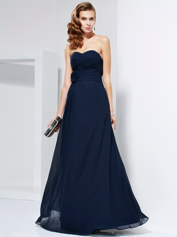 Elegant A-Line Sweetheart Sleeveless Long Chiffon Dress