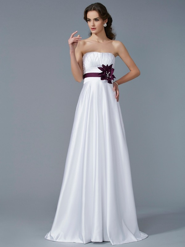 Elegant A-Line Strapless Sleeveless Long Satin Dress