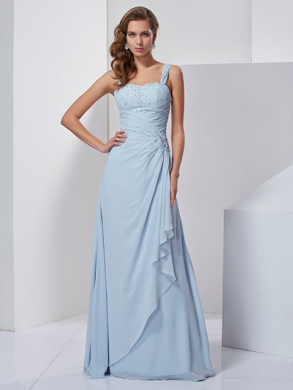 Chic A-Line Straps Sleeveless Long Chiffon Dress