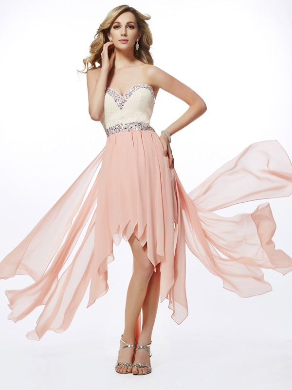 Chic A-Line Sweetheart Sleeveless High Low Chiffon Dress