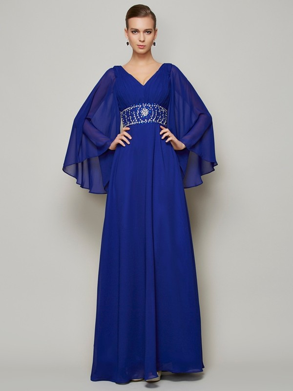 Chic A-Line V-neck Long Sleeves Long Chiffon Dress