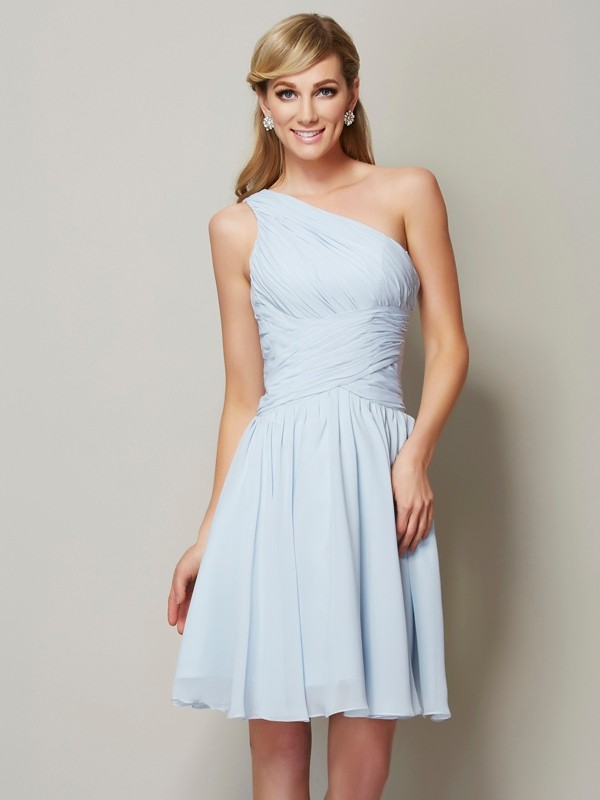 Stylish A-Line One-Shoulder Sleeveless Short Chiffon Bridesmaid Dress