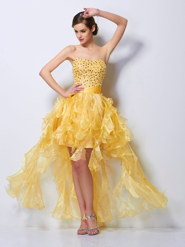 Stylish A-Line Sweetheart Sleeveless High Low Tulle Homecoming Dress