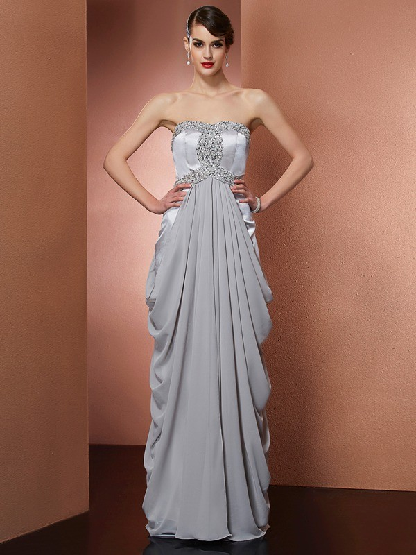 Stylish Sheath Strapless Sleeveless Long Chiffon Dress