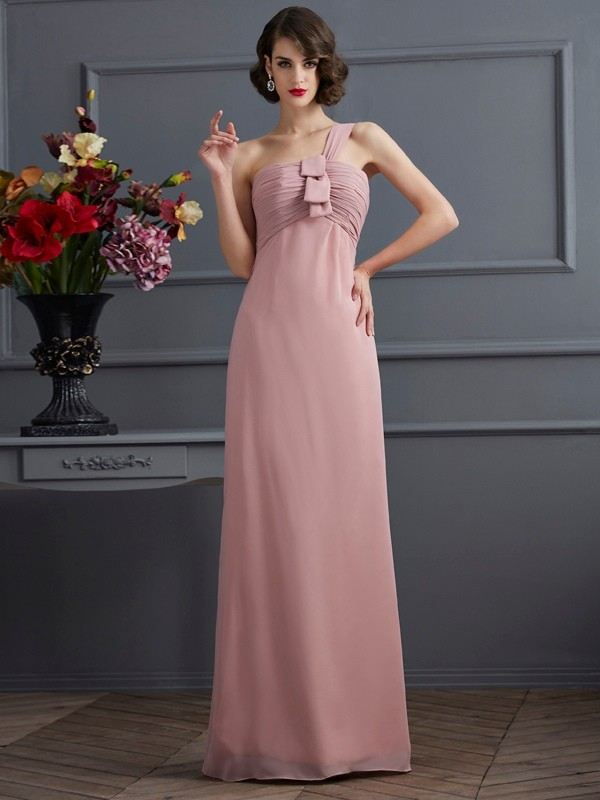 Stylish Sheath One-Shoulder Sleeveless Long Chiffon Bridesmaid Dress