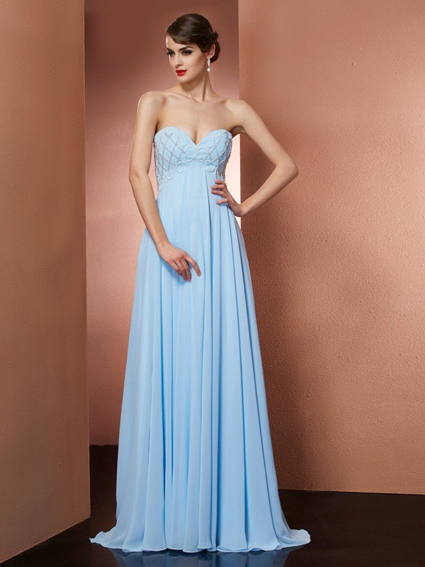 Fashion A-Line Sweetheart Sleeveless Long Chiffon Dress