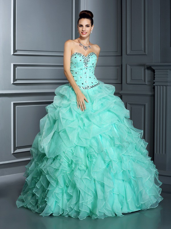 Fashion Ball Gown Sweetheart Sleeveless Long Organza Quinceanera Dress