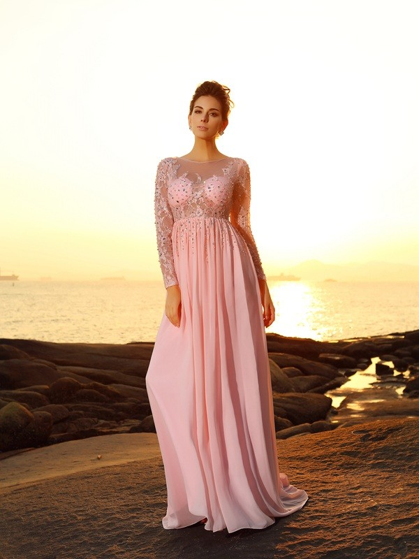 Fashion A-Line Bateau Long Sleeves Long Chiffon Dress