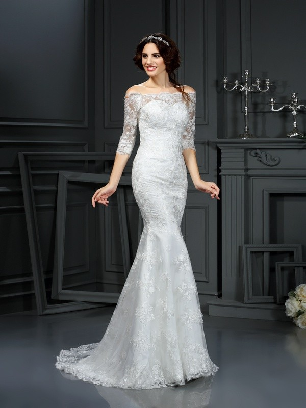 Fashion Sheath Off-the-Shoulder Lace 1/2 Sleeves Long Lace Wedding Dress
