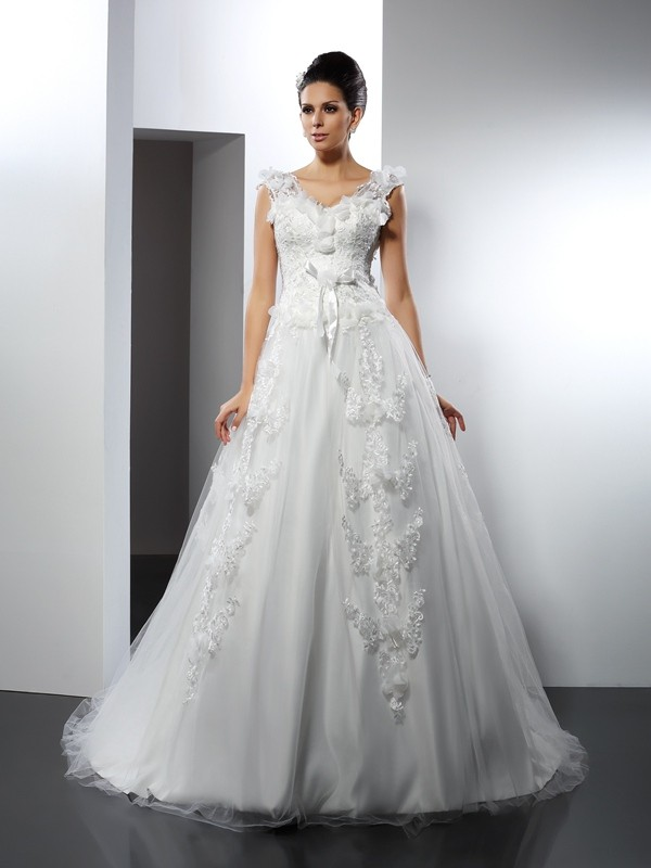 Fashion A-Line Straps Lace Sleeveless Long Satin Wedding Dress