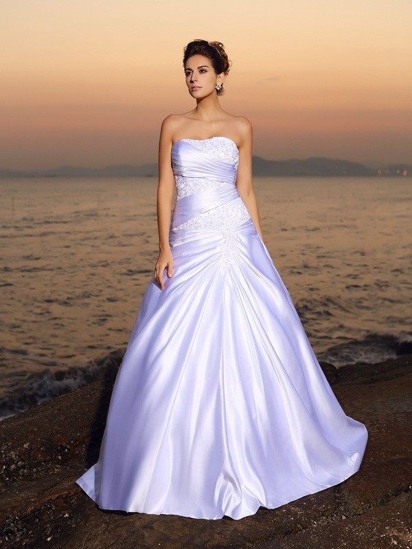 Exquisite Ball Gown Strapless Sleeveless Long Satin Beach Wedding Dress