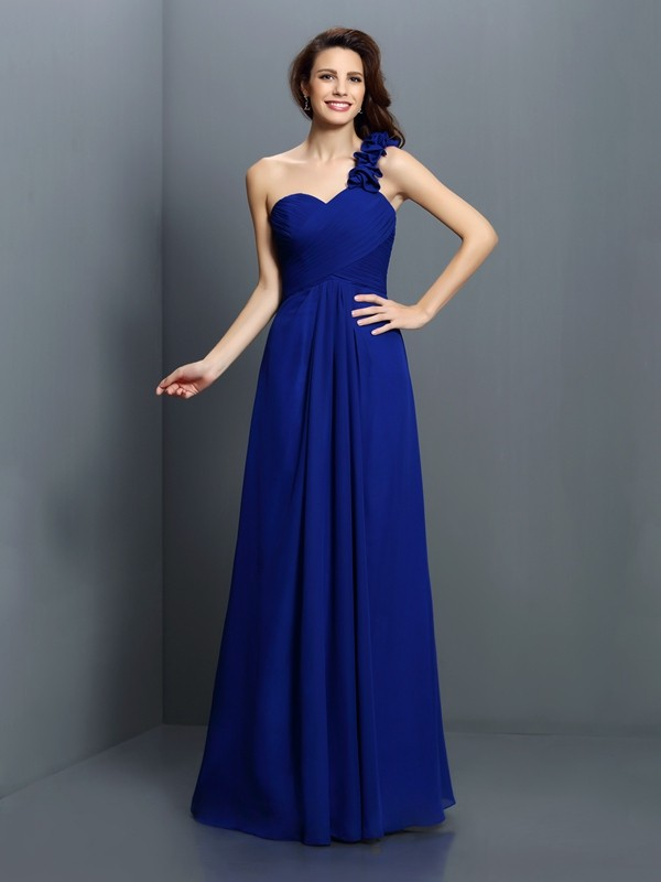 Exquisite A-Line One-Shoulder Sleeveless Long Chiffon Bridesmaid Dress