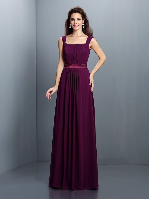 Exquisite A-Line Square Sleeveless Long Chiffon Bridesmaid Dress