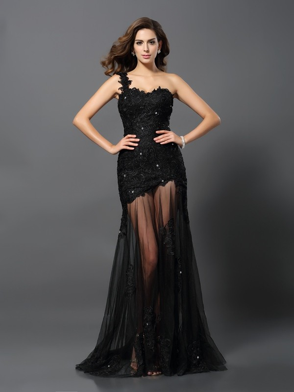 Exquisite Sheath One-Shoulder Sleeveless Long Lace Dress