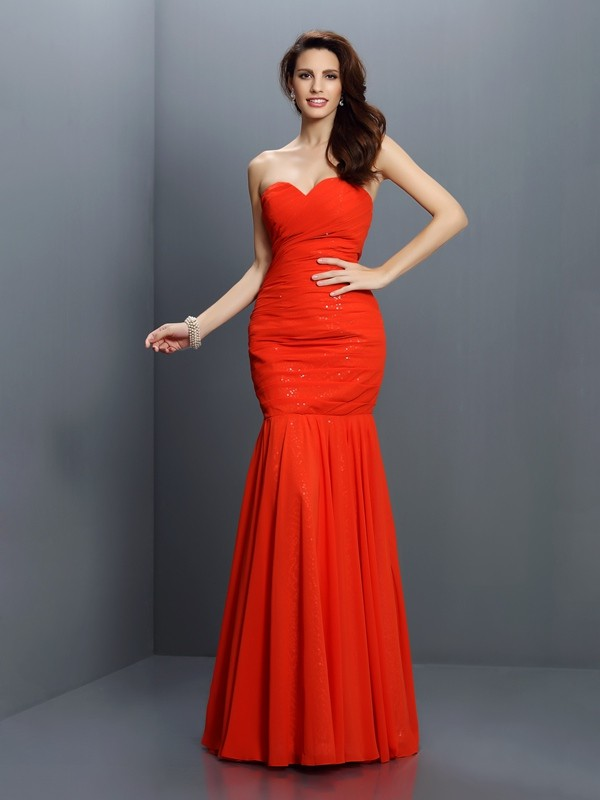 Exquisite Mermaid Sweetheart Sleeveless Long Chiffon Bridesmaid Dress
