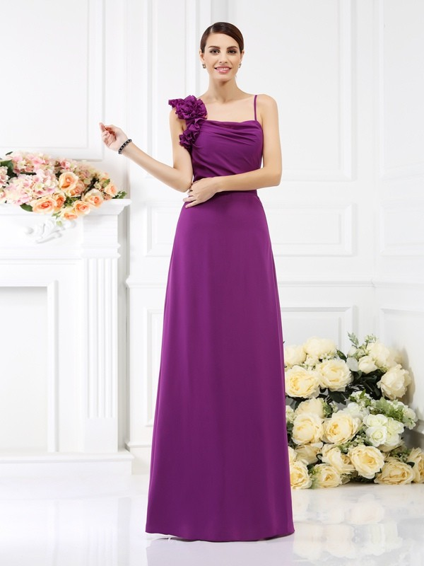 Charming Sheath Spaghetti Straps Sleeveless Long Chiffon Bridesmaid Dress