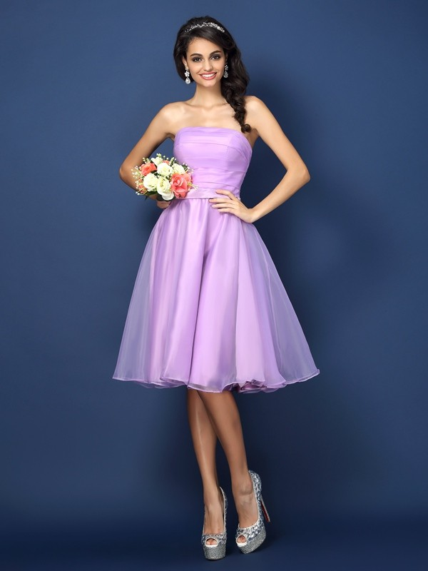 Charming A-Line Strapless Sleeveless Short Satin Bridesmaid Dress