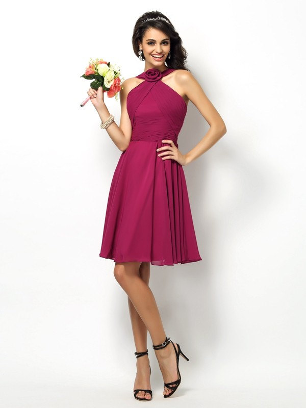 Charming A-Line High Neck Sleeveless Short Chiffon Bridesmaid Dress