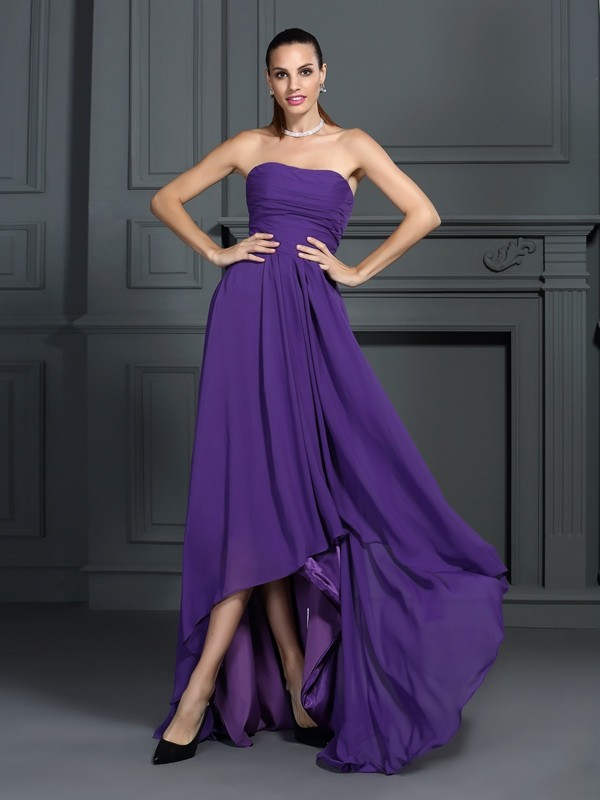 Charming A-Line Strapless Sleeveless High Low Chiffon Cocktail Dress