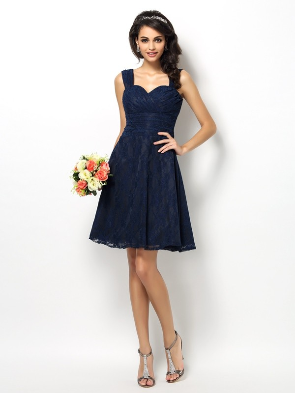 Charming A-Line Straps Lace Sleeveless Short Satin Bridesmaid Dress