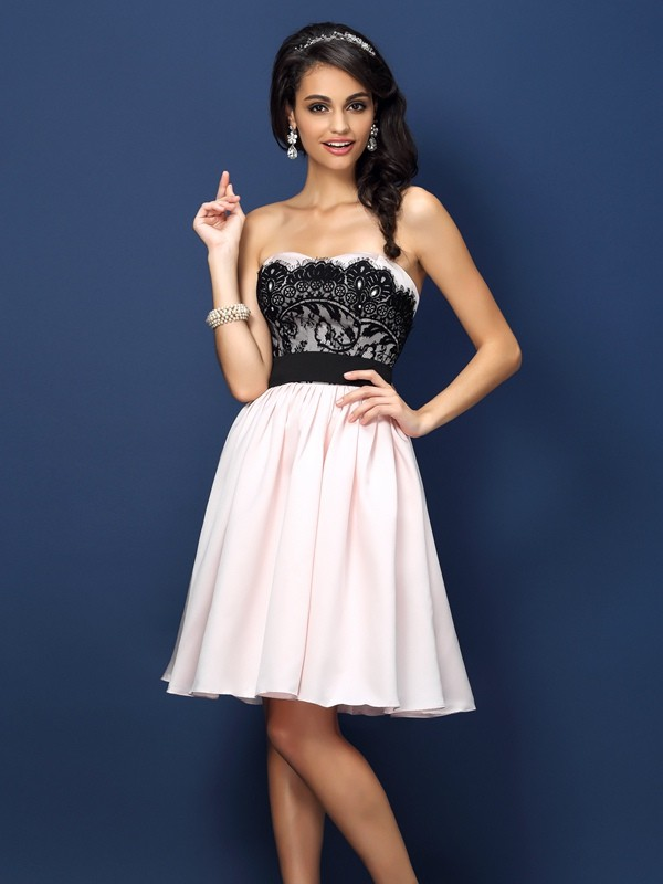 Charming A-Line Sweetheart Sleeveless Short Satin Bridesmaid Dress