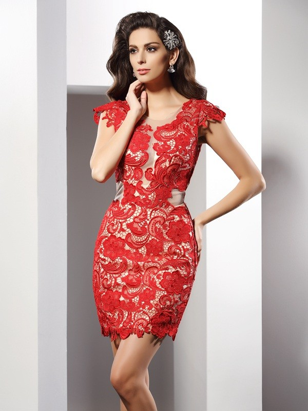 Charming Sheath Scoop Lace Sleeveless Short Elastic Woven Satin Cocktail Dress