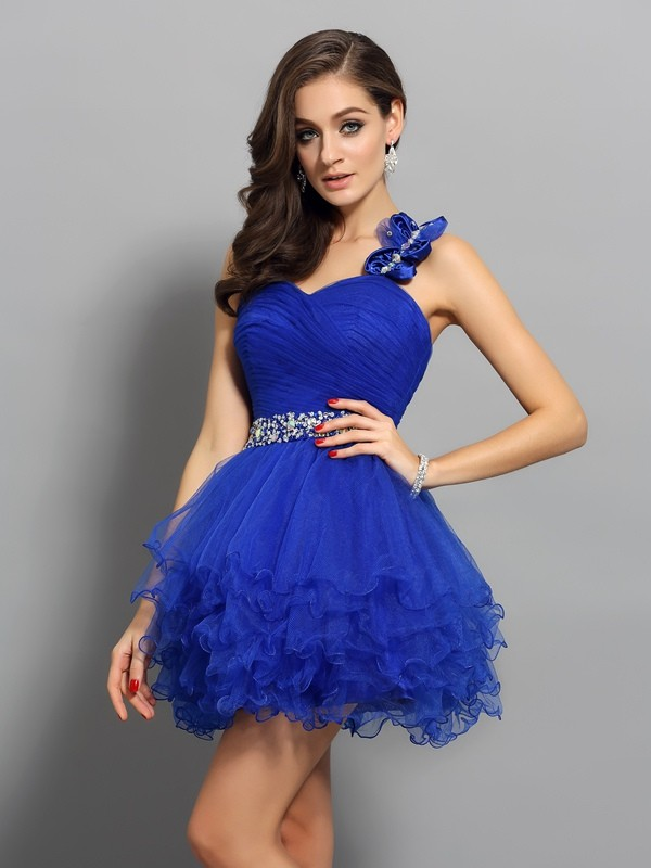 Classical A-Line One-Shoulder Sleeveless Short Organza Cocktail Dress