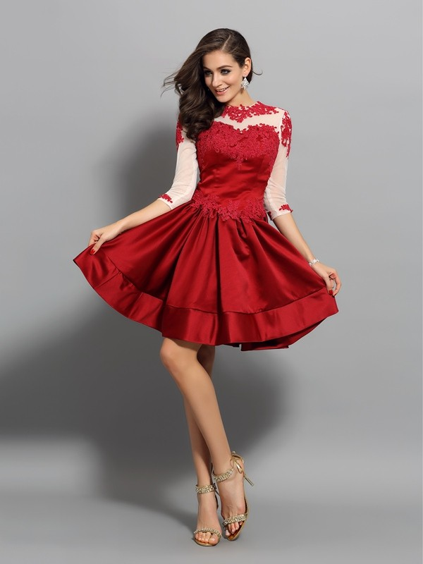 Classical A-Line High Neck 1/2 Sleeves Short Satin Cocktail Dress
