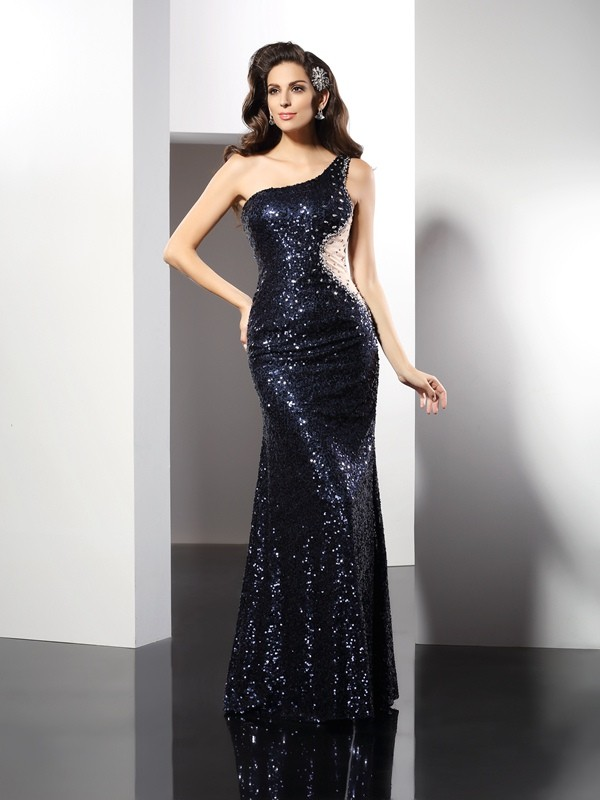 Classical Sheath One-Shoulder Sequin Sleeveless Long Sequins Dress